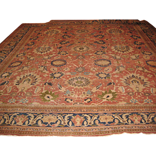 Antique Persian Sultanabad Rug Size: 13.8 x 14.6