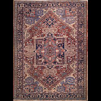 """Large rug Persian Heriz 7'1""""X9'9"""" ft circa 1940"""