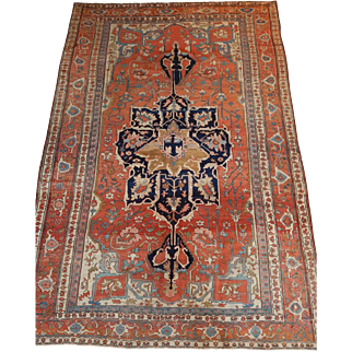 Antique Persian Serapi Rug Size: 9.1 x 13.6