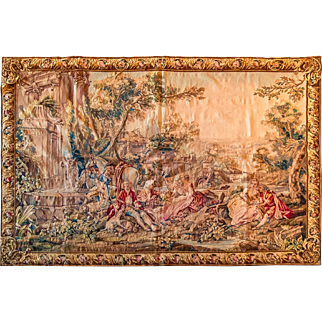 Antique french tapestry Beauvais 19th Century 4'9X4'3 feet