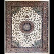 Tabriz Persian rug fine quality 8'3X11'8ft Wool & Silk Ivory Field Brown border