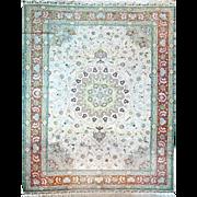 Oriental Rug Green Color with Brown Border Tabriz Design Persian origem