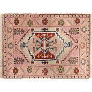 Semi-antique Turkish Small Rug Pink quartz color 3'11 X 4'10