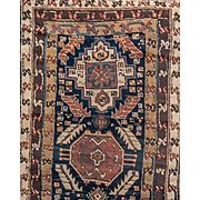 Antique Kazak	Wool Runner 19th Century caucasian carpet 3'X10'8