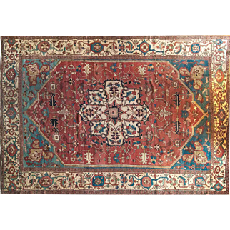 Antique Serapi Bakhshish Wool Rug 9'8X13'6 Made in Persia 19th Century