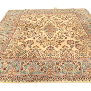 SQUARE-Persian Kerman Oriental Rug with beautiful design and colors 1930s-hard to find size  11' x 12' free shipping & appraisal