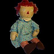 Raggedy Ann, 28 Inch Homemade Vintage Rag Doll in Aqua Print Dress