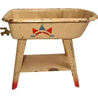 Tin Bathtub for Doll, Vintage Painted with Spigot, on Legs
