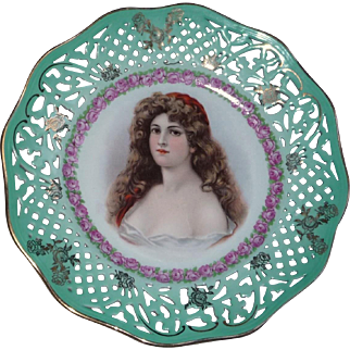 Pretty Woman on Art Nouveau CICO Bavarian Reticulated Plate
