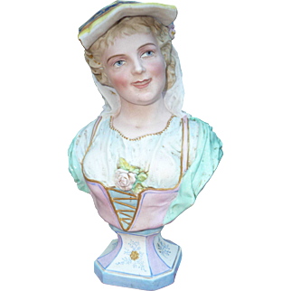 "Woman Bust, Fine German Bisque on Pedestal, M & F in Apple Mark 11"", 1 of Pair"