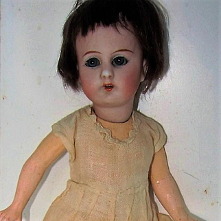 Simon & Halbig 1078 Bisque Head 8 In Doll, Bobbed Wig, Chemise
