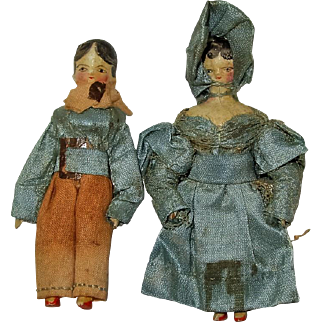 Pair Milliner's Model or Peg Wooden Miniature 2 Inch Dolls,1840s, Couple in Original Outfits