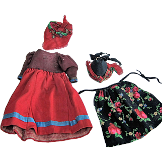Doll Outfit for 10-12 In Bisque Head German Antique, Red Twill + Black Floral, with Hat