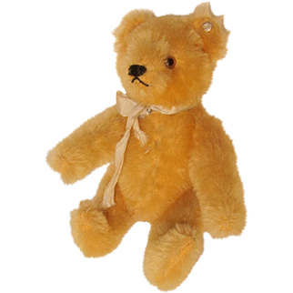 "6"" Steiff Golden Yellow Jointed Bear with Button, Vintage 1950s"