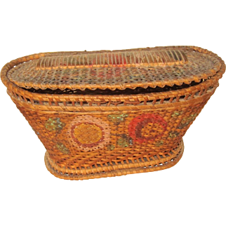Antique Oval Covered Basket, Painted 19th Century, 6 Inch Small