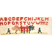 Sampler, 20th Century, of Houses, People, Geese and Alphabet - Framed
