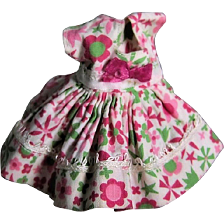 Vogue Ginny Doll Dress, Magenta + Green Flower Print with Bow, Medford Tag