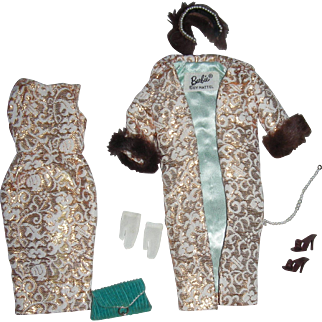 Barbie Evening Splendor Outfit: Gold Brocade Dress, Coat, Fur Head Band, Turquoise Purse, Hanky, Shoes, Pearls, Gloves 1963