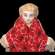 Bisque Head German Dollhouse Doll, Parian Molded Hair Child 4 Inches, 1900