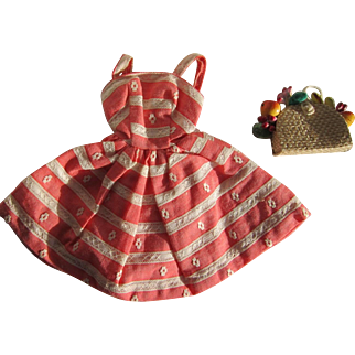 Barbie Busy Morning Coral and White Dress with Straw Basket with Fruit