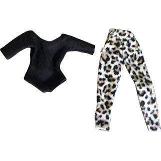 Jill Doll's 1950s Vogue Black Leotard and Leopard Pattern Pants