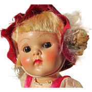 Ginny Doll HP Strung HANSEL 1953, Wrist Tag, Excellent Face Paint - Fuchsia Outfit