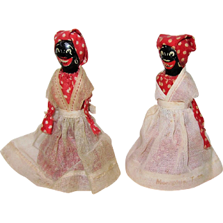 2  Black Dolls,  Wood and Bells in Red with White Aprons, Vintage Souvenirs