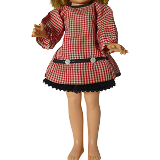 """Shirley Temple Doll, 15"""" in Red Checked Top + Skirt"""