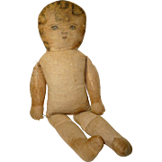 """Cloth Doll, Antique with Hand-Drawn Face, 19"""", Hard Stuffed"""