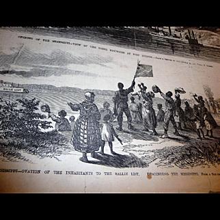 Frank Leslie's Illustrated Newspaper 2 Pages, 1863 + 1864 Civil War Lithographs