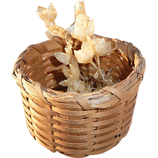 Miniature Old Splint Basket with Tiny Waxed Cloth Flowers