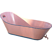 Pink Painted Tin Baby Bathtub with Spigot, Red Wolf Decal, Early 20th Century