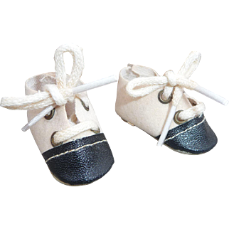 Mary Hoyer Doll Shoes, Vintage Black & White Saddle Oxfords for 14 Inch Doll