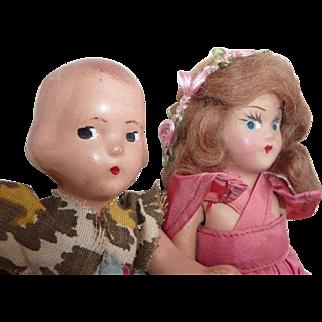 """2 Composition Dress Up Dolls, 6 1/2"""" Vintage"""