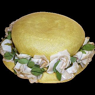 Yellow Straw Vintage Ladies' Hat, Spring Bonnet in Macy's Box