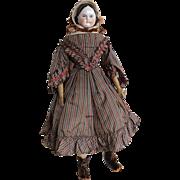 Covered Wagon China Head Doll, 1850s, 15 Inch Orig Silk Dress + Bonnet
