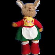 Stuffed German or Swedish Rabbit, 11 Inch Felt Dressed Girl Bunny
