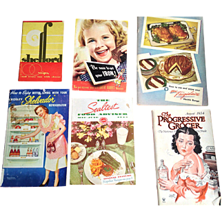 5 Vintage Advertising Cookbooks + 1934 Grocer Magazine