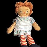 Raggedy Ann Doll, Georgene Tag, 19 Inches in Dress + Apron