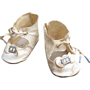 Doll Shoes, White Tie Lace Oilcloth Vintage 1930s-40s, 3.5 Inch Long