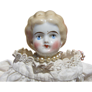China Head Blonde Doll, Petite 10 1/2 Inch Antique in Dainty Clothes