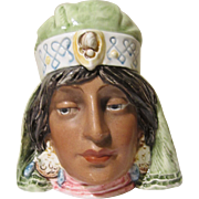 Tobacco Humidor Jar Old German Majolica Porcelain Figural Middle Eastern Princess