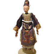 "Chinese Male Opera Doll Great Detail & Condition 11 1/2""  Possibly Signed"