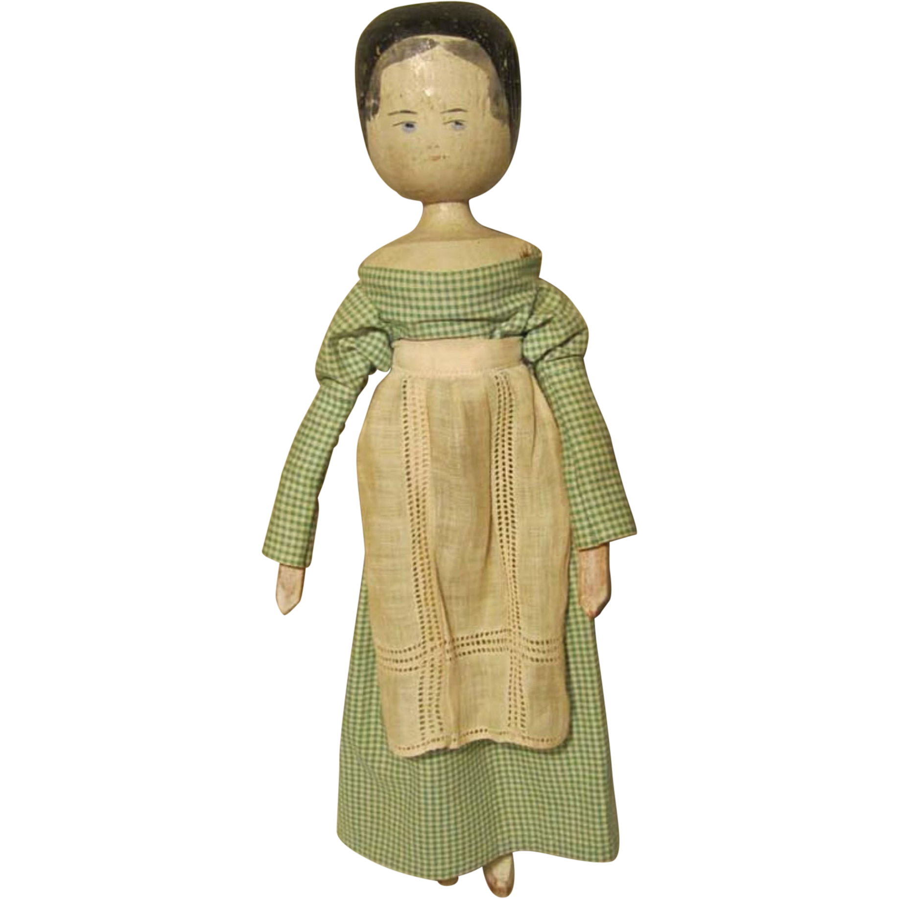 Amazing photo of Early Peg Wooden Grodner Tal Doll Hand Made Clothes from rubylane sold  with #8E783D color and 1836x1836 pixels