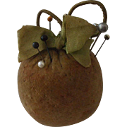 Charming and Useful 19th Century Velvet Apple Pincushion