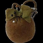 Charming and Useful 19th Century Velvet Apple Pincushion