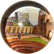 Super Little Victorian Glass Paper Weight Showing Durham Castle, England