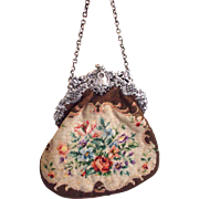 A Very Fine and Pretty Victorian Embroidered Bag with Hallmarked Silver  Clasp Top London 1900