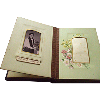 An Exquisite Small Victorian Photo Album With Floral Pages