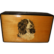 Early 20th Century Trinket Box With Hand Painted Picture of a Spaniel